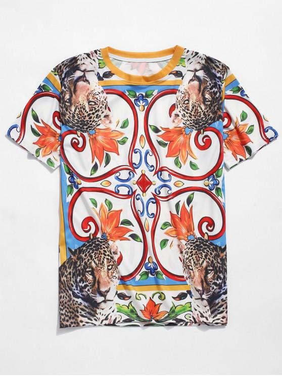 Camiseta de manga corta con estampado de leopardo floral - Multicolor 2XL