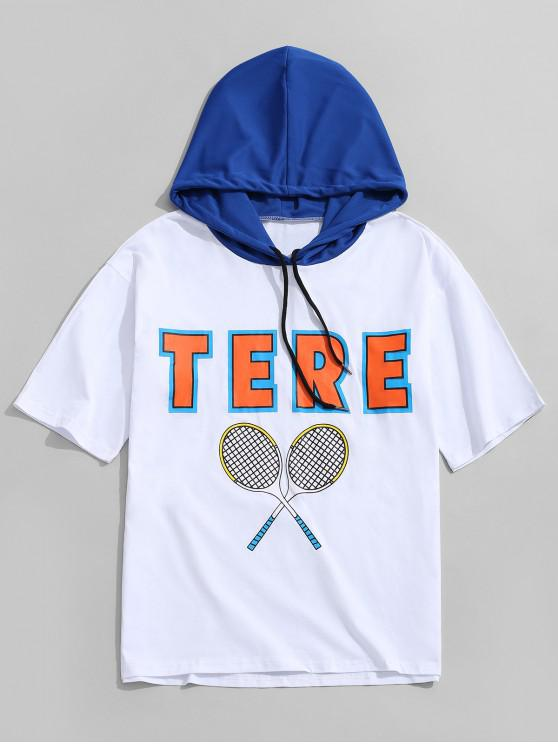 best Tennis Rackets Letters Print Hooded T-Shirt - WHITE 2XL