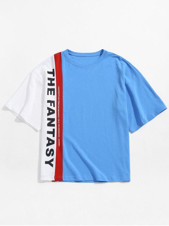 latest Letters Design Color Block Panel T-shirt - BLUE XL