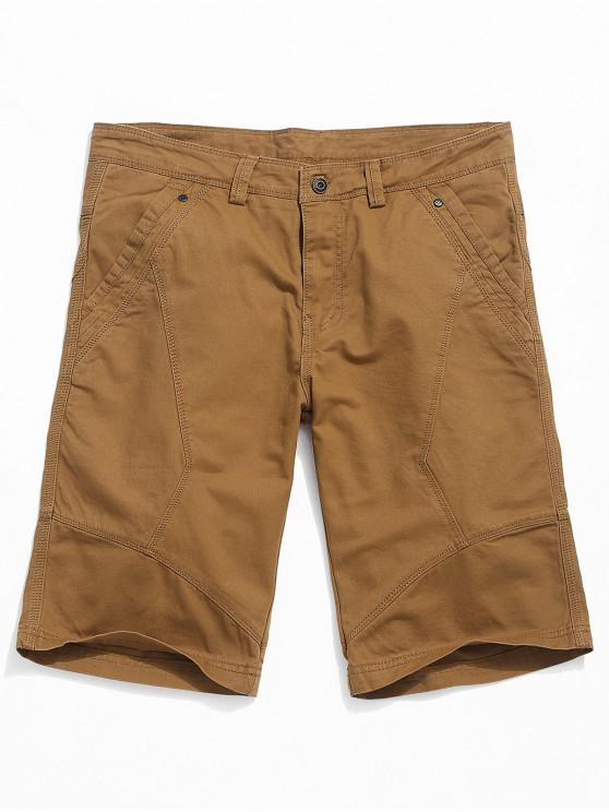 fancy Solid Color Cargo Casual Shorts - CARAMEL 32