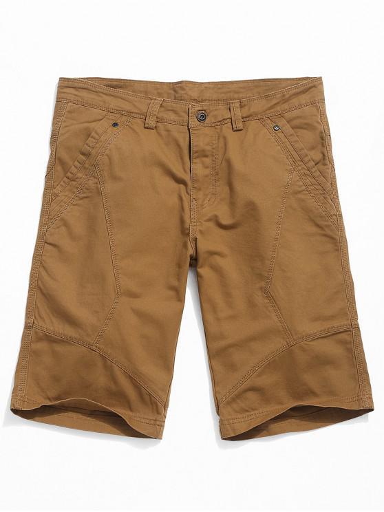 unique Solid Color Cargo Casual Shorts - CARAMEL 34
