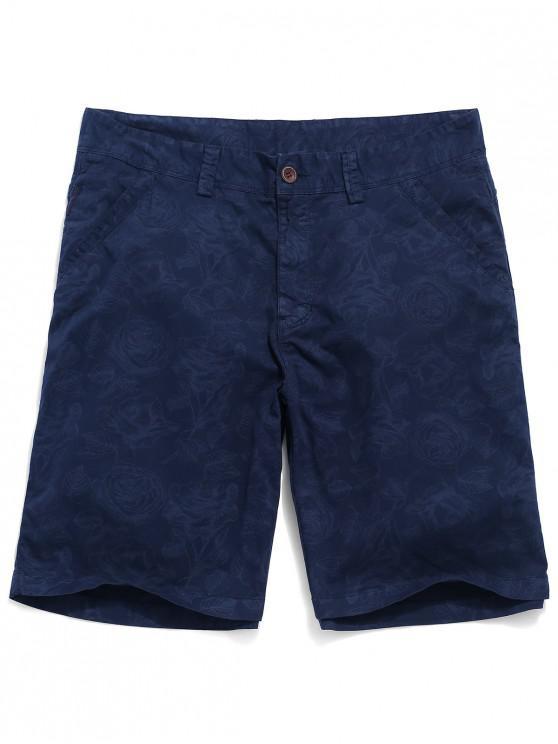 ladies Flowers Print Zipper Fly Casual Shorts - COBALT BLUE 32