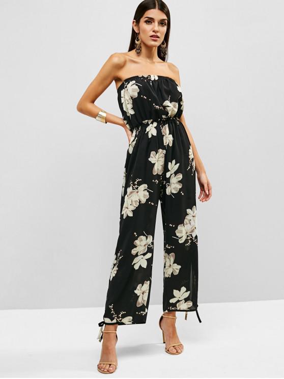 women's Floral Print Strapless Wide Leg Jumpsuit - BLACK M