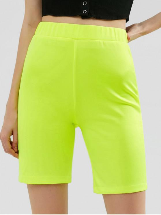 shop High Waisted Neon Biker Shorts - TEA GREEN S