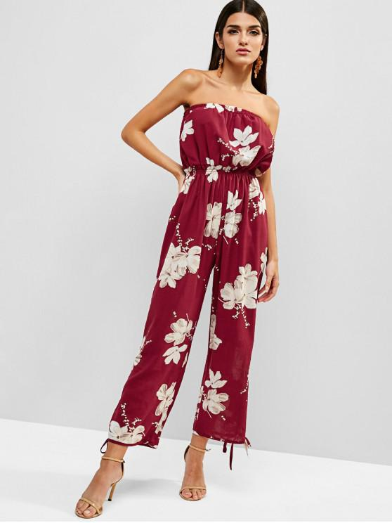 shops Floral Print Strapless Wide Leg Jumpsuit - RED WINE S