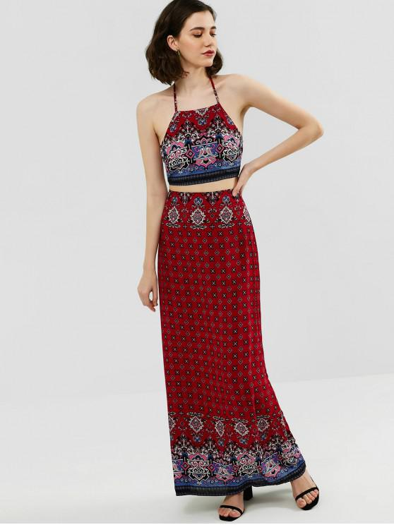 lady ZAFUL Halter Printed Top and Maxi Skirt Set - CHESTNUT RED S