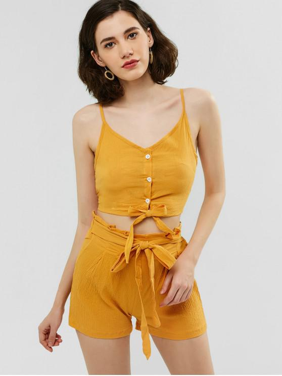 outfits Buttoned Cami Top and Knotted Shorts Set - GOLDENROD S