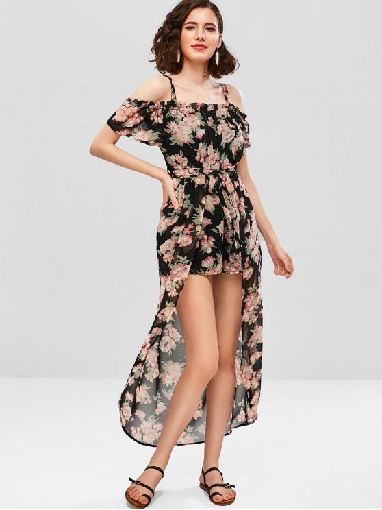 Vestido de flores con hombros descubiertos - Multicolor M