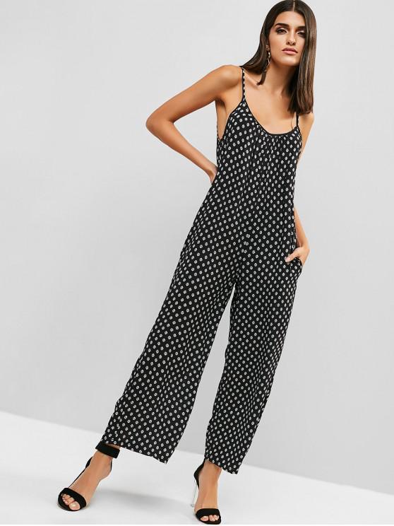 trendy Cami Printed Pocket Casual Jumpsuit - BLACK M