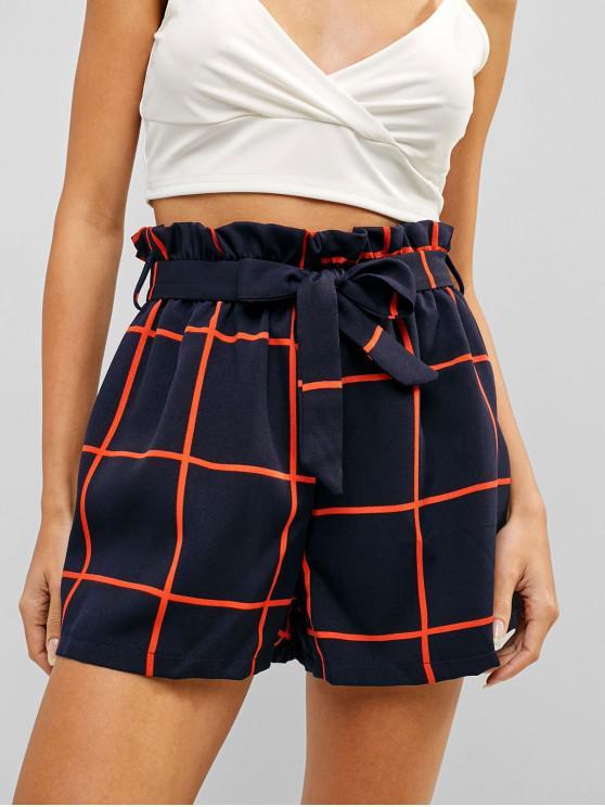 shop High Rise Plaid Belted Frilled Shorts - DARK SLATE BLUE XL