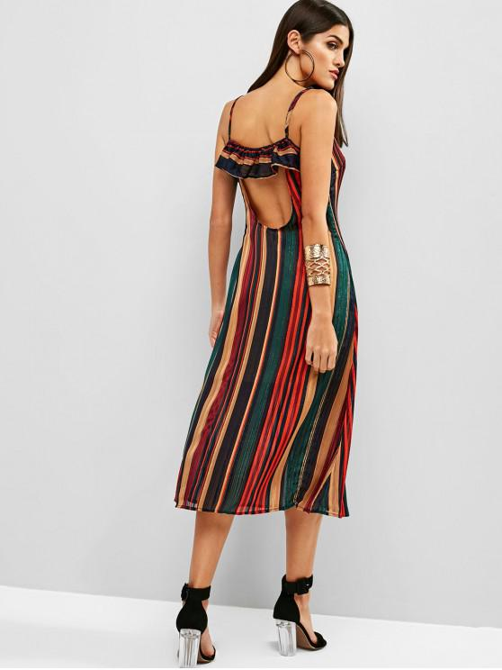 shop ZAFUL Cut Out Back Shadow Striped Cami Dress - MULTI L
