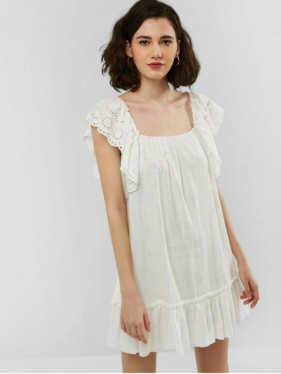 76bf8142dbd 22% OFF  2019 ZAFUL Broderie Anglaise Square Neck Flounce Dress In ...