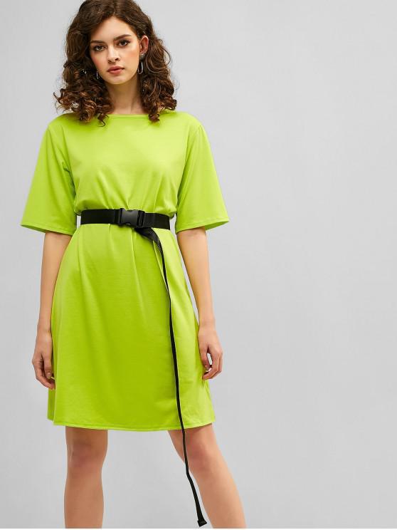 buy Neon Belt Tee Dress - GREEN YELLOW M