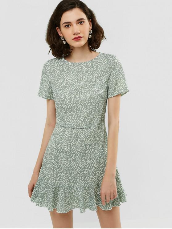 lady ZAFUL Flounce Short Leopard Dress - PALE BLUE LILY M