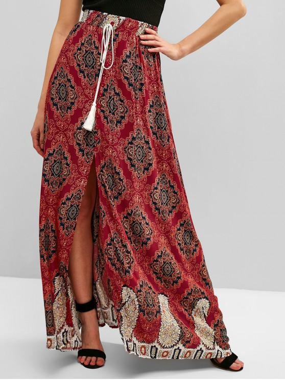 fashion Slit Tassels Buttoned Printed Skirt - RED WINE M
