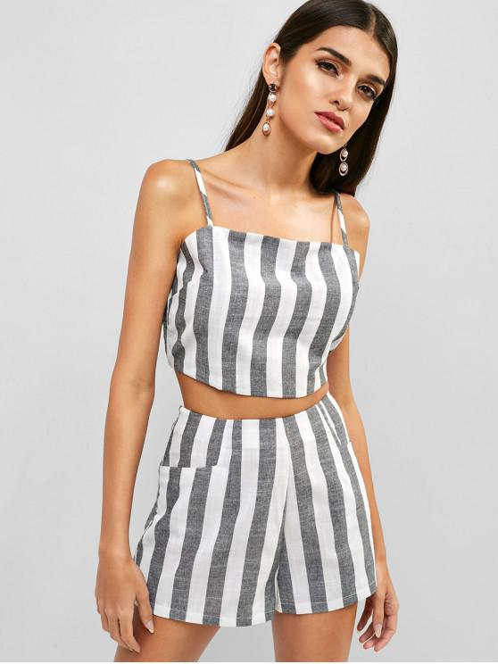 trendy ZAFUL Shirred Striped Two Piece Set - MULTI L
