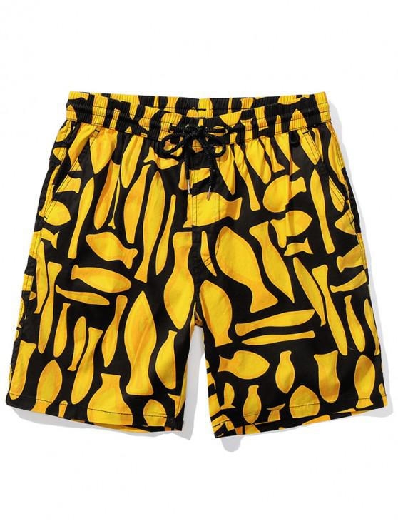 chic Abstract Pattern Print Beach Shorts - YELLOW L