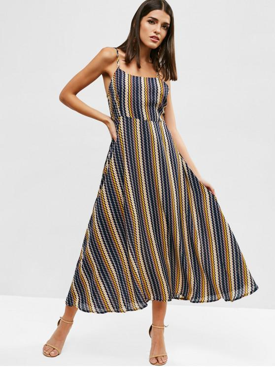 hot Geometric Print Knotted Cami Dress - MULTI M