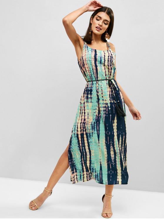 ladies Tie Dye Tassels Slit Cami Dress - GREEN S