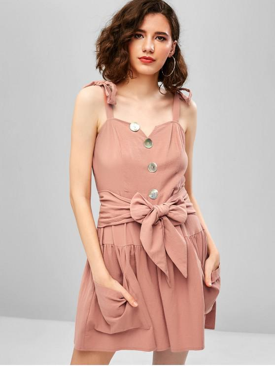 women ZAFUL Tie Shoulder Pocket Mini A Line Dress - KHAKI ROSE L