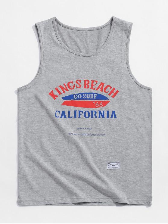 womens Letters Print Beach Tank Top - GRAY 2XL
