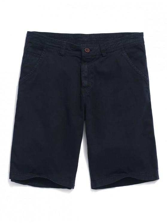 lady Applique Solid Color Denim Shorts - DARK SLATE BLUE 34