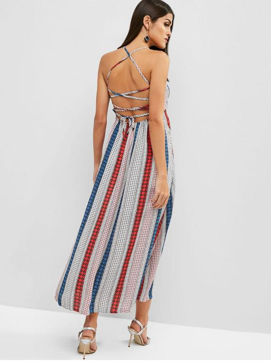 shop Lace Up Geometric Slit Maxi Dress - MULTI M