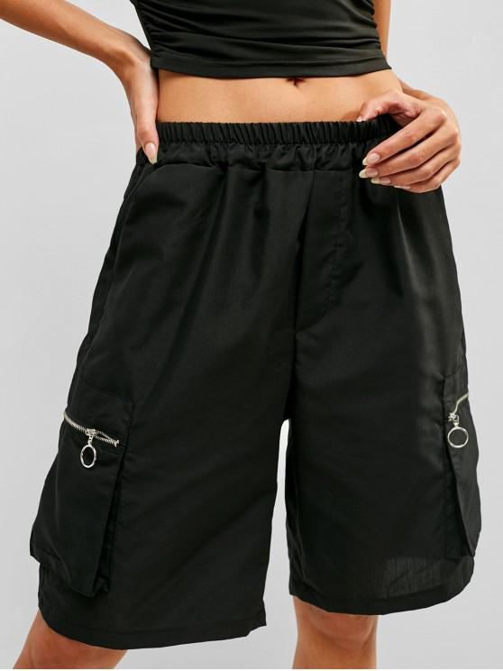 women's Zipper Pocket Biker Shorts - BLACK M