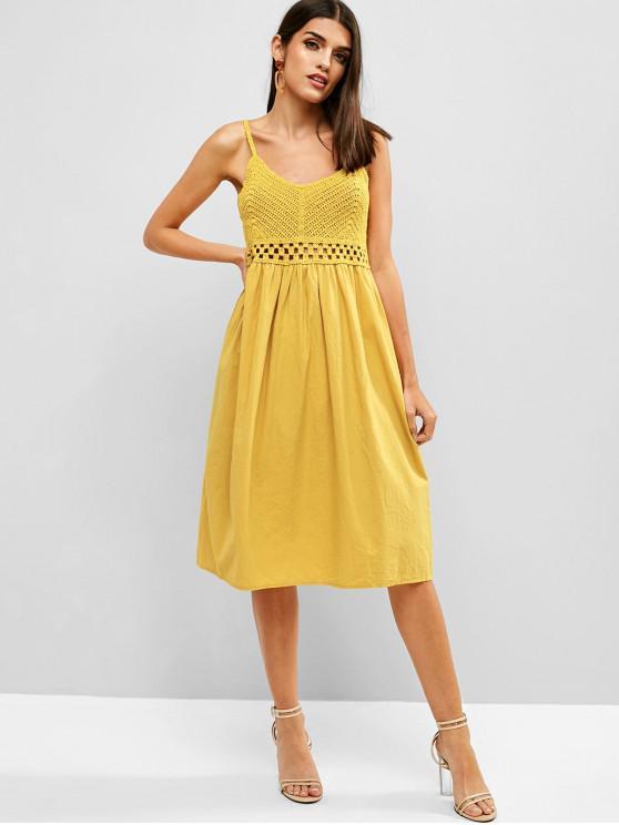 Zaful Crochet Panel A Line Vestido Cami Bee Yellow