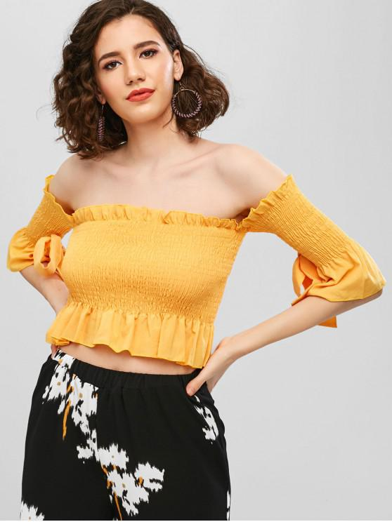 9b4be7b2bff6a 19% OFF   NEW  2019 Off Shoulder Smocked Solid Blouse In BEE YELLOW ...