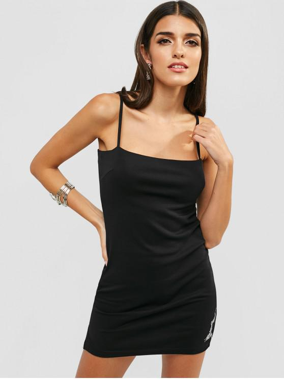 trendy Embroidered Slit Cami Dress - BLACK S