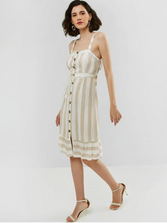 affordable ZAFUL Knotted Button Up Stripes Dress - LIGHT KHAKI M