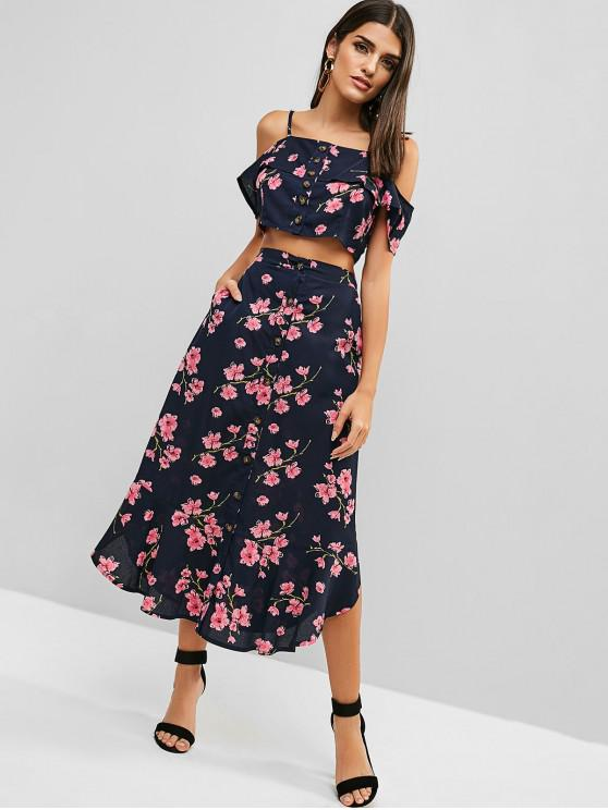 ladies ZAFUL Button Up Floral Two Piece Dress - MIDNIGHT BLUE L