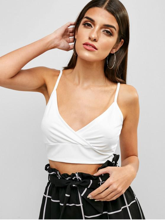 outfit ZAFUL Crop Surplice Cami Top - WHITE L