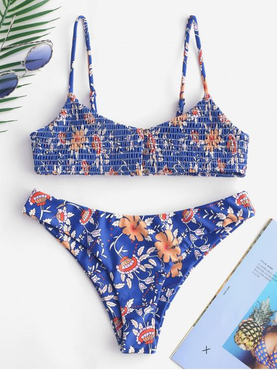 ladies ZAFUL Smocked Flower Button Front Bikini Set - MULTI-A L