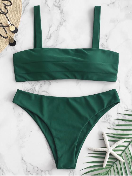 lady ZAFUL Seam Tie Back Bikini Set - MEDIUM FOREST GREEN L