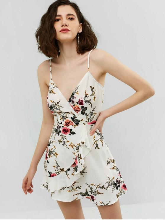 sale ZAFUL Surplice Flower Flounce Cami Dress - WHITE M