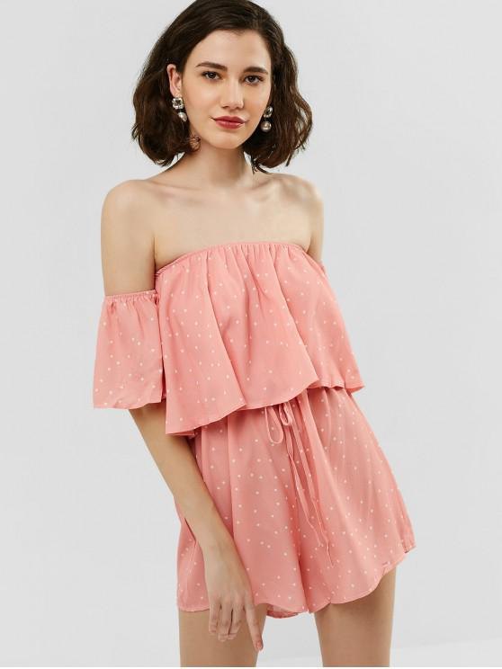 shops Off Shoulder Polka Dot Overlay Romper - PIG PINK L