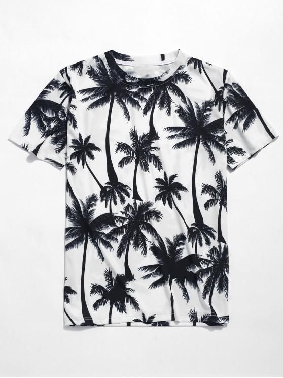 chic Palm Trees Print Beach T-shirt - WHITE L