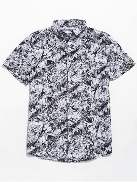 women Palm Leaf Print Button Up Shirt - WHITE 3XL