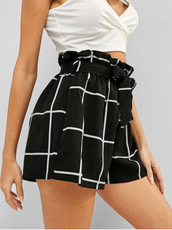 fashion High Rise Plaid Belted Frilled Shorts - BLACK XL