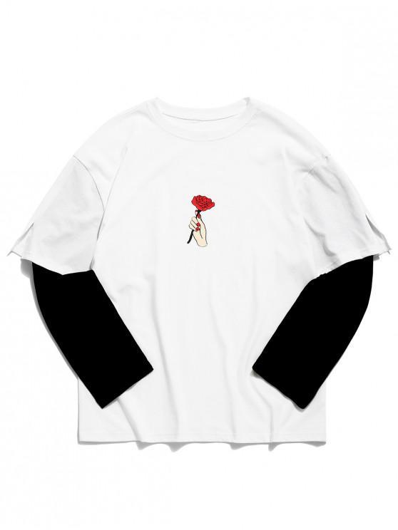 best Rose Print False Two Piece T-shirt - WHITE M