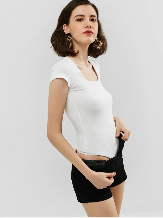 sale Mesh Lined U Neck Bodysuit - WHITE S