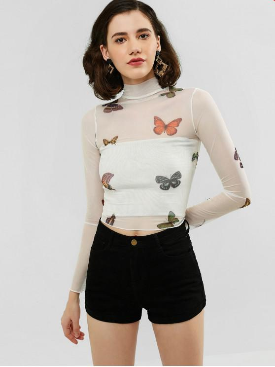 lady Butterfly Mesh High Neck Sheer Tee - WHITE L