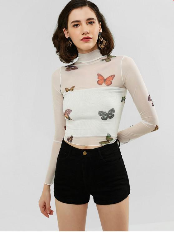 Schmetterling-Maschen- Hoher Hals-Schiere- T-Shirt - Weiß L