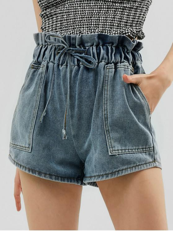 trendy High Waist Ruffles Denim Shorts - JEANS BLUE XL