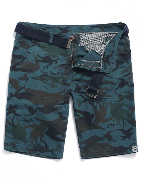 hot Zipper Fly Print Applique Jean Shorts - BLUEBERRY BLUE 36