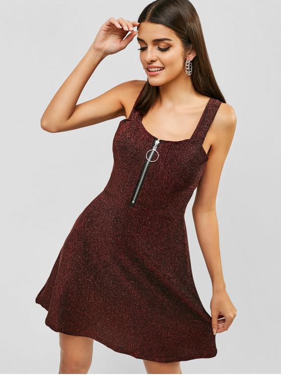 lady Metallic Thread Zip Backless Mini Dress - RED S