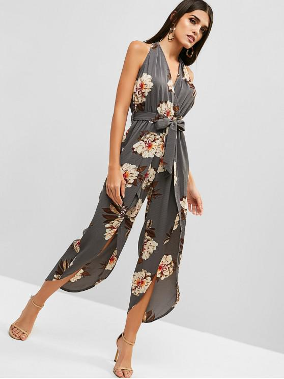 shops Floral Print Backless Belted Overlap Jumpsuit - LIGHT SLATE GRAY S
