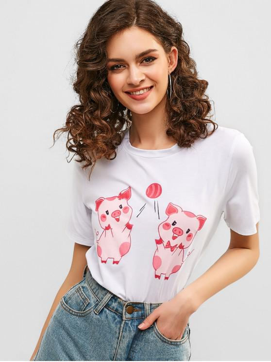 ZAFUL T-shirt Graphique Cochon - Blanc S